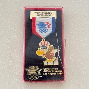 1984 olympics Los Angeles swimming pin